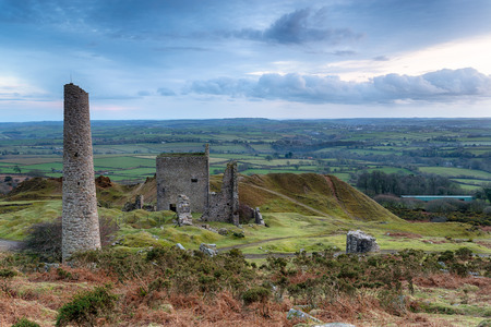bodmin: The ruins of ancient copper mining buildings on Caradon Hill on Bodmin Moor in Cornwall