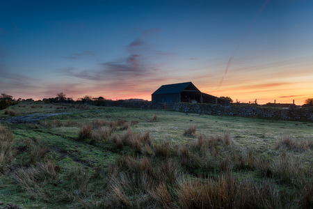 bodmin: An old barn just after dusk on Bodmin Moor in Cornwall