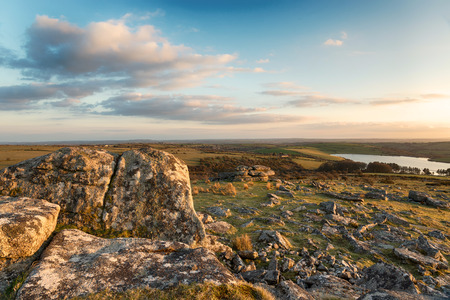 bodmin: Early evening at Tregarrick Tor overlooking Siblyback lake on Bodmin Moor in Cornwall