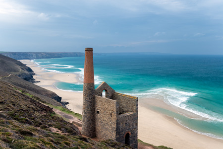 south west coast path: The ruins of an old Cornish engine house on the South West Coast Path as it passes through St Agnes on the north coast of Cornwall