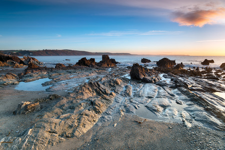 Low tide at Hannafore beach at Looe in Cornwall