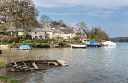 clement: The river Tresillian as it flows past St Clement a small picturesque parish on the outskirts of Truro in Cornwall Stock Photo