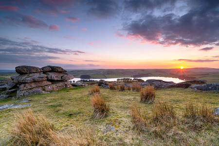 Sunset over Bodmin Moor in Cornwall, from Tregarrick Tor above Siblyback lake