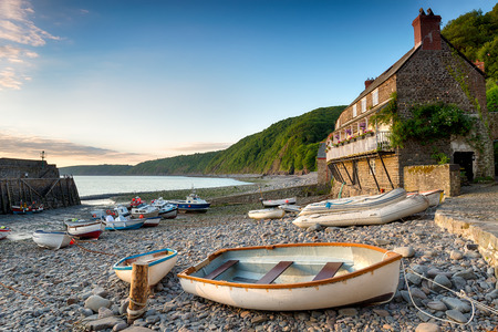 Boats in the harbour at Clovelly an historic fishing village on the Devon Heritage Coast