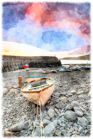 english countryside: Fishing boats in the harbour at Clovelly on the north coast of Devon