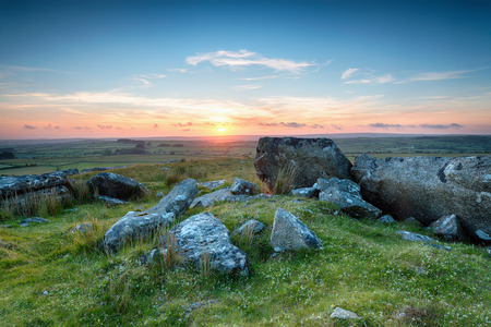 bodmin: Stunning sunset over Bodmin Moor in Cornwall, from Alex Tor near St Breward Stock Photo