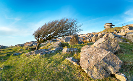bodmin: The Cheesewring a granite rock formation near Minions on Bodmin Moor in Cornwall