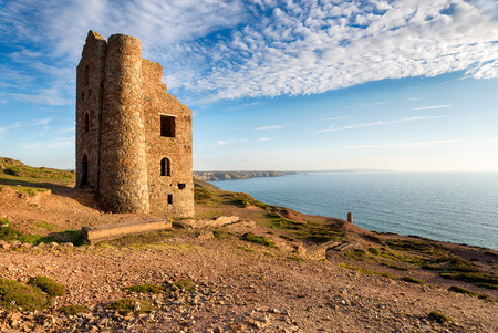 south west coast path: The South West Coast Path as it passes Wheal Coates at St Agnes in Cornwall