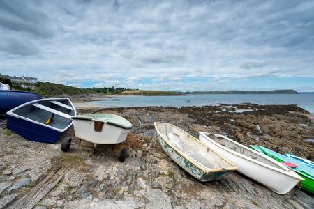 slipway: Boats lined up on the slipway at Portscatho harbour on the Cornish coast