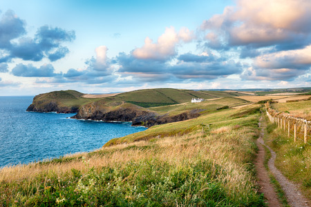 south west coast path: The South West Coast Path as it approaches Doyden Point and Port Quin
