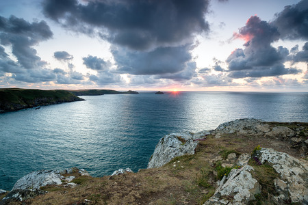 south west coast path: Sunset from cliffs at Trevan Point on the South West Coast Path in north Cornwall Stock Photo