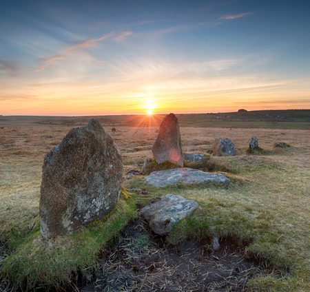 stone circle: Stunning sunset over the Stannon Stone Circle on Bodmin Moor in Cornwall Stock Photo