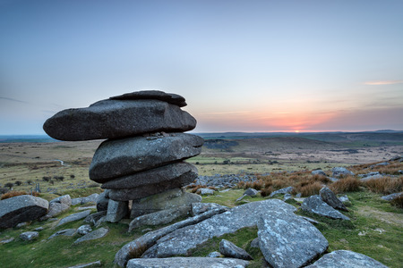 The Cheesewring, a granite rock formation at Minions on Bodmin Moor in Cornwall 写真素材