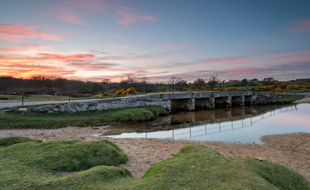bodmin: Beautiful sunset over the De Lank river at St Breward on Bodmin Moor in Cornwall