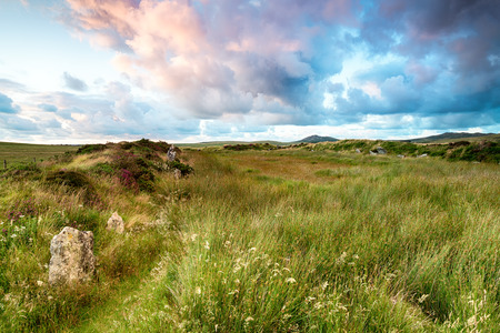 bodmin: Sunset at King Arthurs Hall a neolithic monument of standing stones on Bodmin Moor in Cornwall Stock Photo