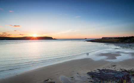 english west country: Sunset over the sandy beach at Daymer Bay near Padstow on the north coast of Cornwall