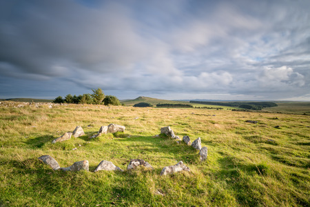 bodmin: An ancient Neolithic hut circle on the foothills of Roughtor on Bodmin Moor in Cornwall