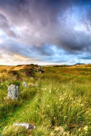 bodmin: King Arhurs Hall, a Neolithic monumant of standiing stones high up on Bodmin Moor in Cornwall Stock Photo