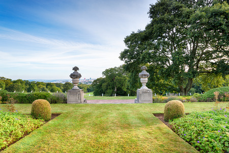 jacobean: Formal gardens in a stately home