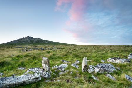 moorland: Granite moorland at Bodmin Moor in cornwall, looking out at Rough Tor