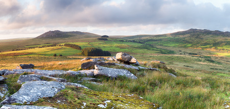 bodmin: The rugged terrain of Bodmin Moor in Cornwall, withthe peaks of RoughTor and Brown Willy in the distance