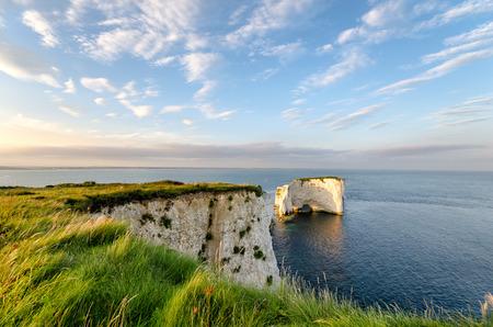 jurassic coast: Old Harry Rocks, steep chalk cliffs and sea stacks near Swanage on Dorsets Jurassic Coast