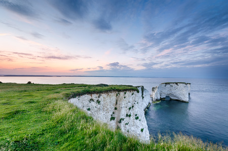 Sunset over Old Harry Rocks near Swanage and the start of the Jurassic Coast in Dorset