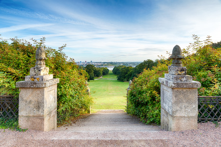 old english: Steps at Mount Edgcumbe statley home leading to parkland with a view of Plymouth