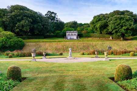 stately home: Formal gardens in an English stately home at Mount Edgcumbe in Cornwall