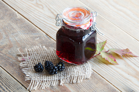 bramble: A jar of homemade Bramble Jelly foraged from the hedgerow