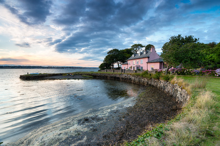 south west coast path: Sunset at Empacombe Quay on the South West Coast Path near Mount Edgcumbe in Cornwall