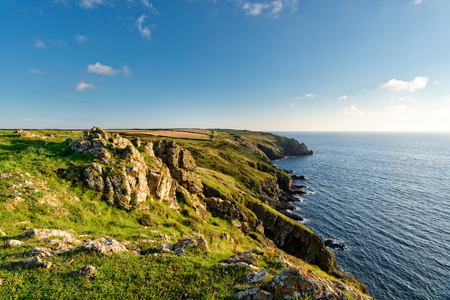 english west country: Clifftops on the South West Coast Path above Muliion Cove on the Lizard in Cornwall