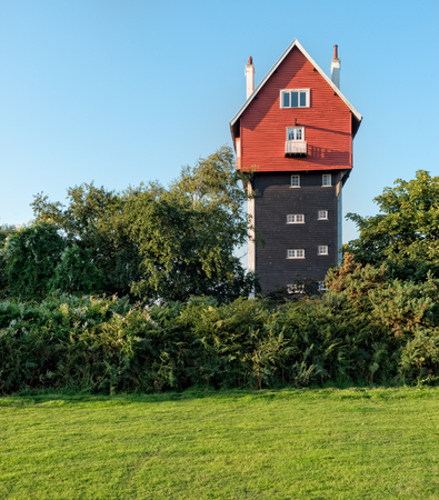 suffolk: A very tall house at Thorpness in Suffolk Stock Photo