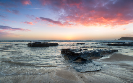 stunning: Stunning sunset over rocks at Boobys Bay on the north Cornwall coast