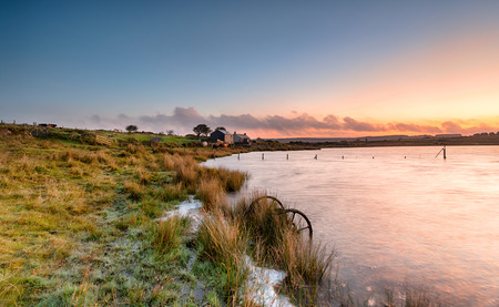 bodmin: Dawn at Dozmary Pool on Bodmin Moor in Cornwall Stock Photo