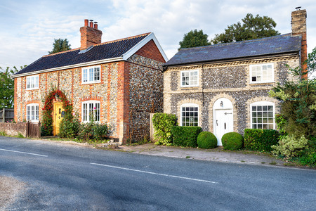 flint: Pretty country cottages made from brick and flint in Norfolk