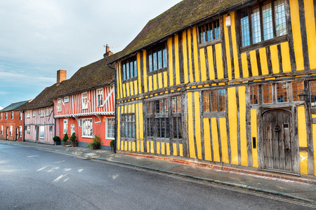 Colourful Tudor half timbered houses at Lavenham in Suffolk