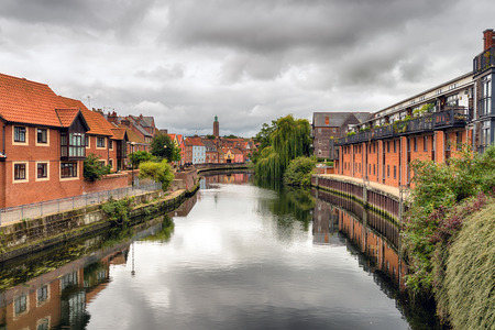 Norwich in Norfolk under a moody sky