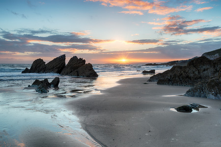 stunning: Beautifull sunset on the beach at Freathy in Whitsand bay on the south coast of Cornwall