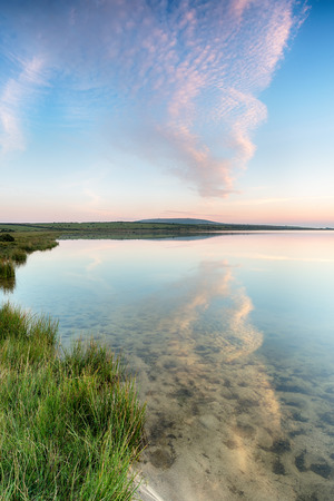 bodmin: Sunset over a lake on Bodmin Moor in Cornwall