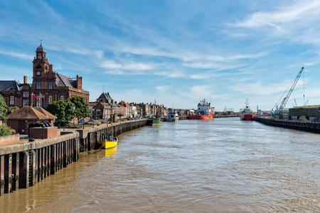 노퍽 해안에있는 그레이트 암스테르담의 부두 스톡 콘텐츠