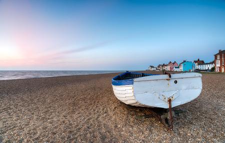 shingle beach: Fishing boat on the shingle beach at Aldeburgh on the Suffolk coast