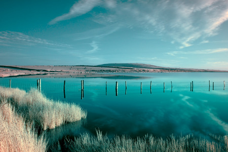 bodmin: An infrared photo of Dozmary Pool on Bodmin Moor in Cornwall