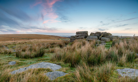 granite park: Weathered granite rock formations near Okehampton Camp on Dartmoor National Park in devon
