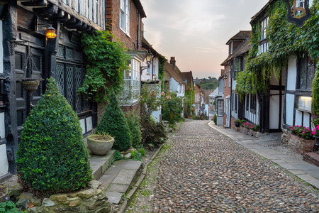 cobbled: Beautiful half timbered houses on a cobbled street at Rye in east Sussex