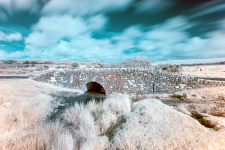 infrared: A colour infrared photo of an old bridge at Temple on Bodmin Moor in Cornwall Stock Photo