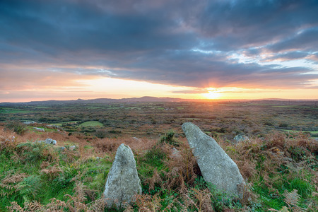 bodmin: Autumn moorland sunset on the side of Helman Tor a steep rocky hill near Bodmin in Cornwall