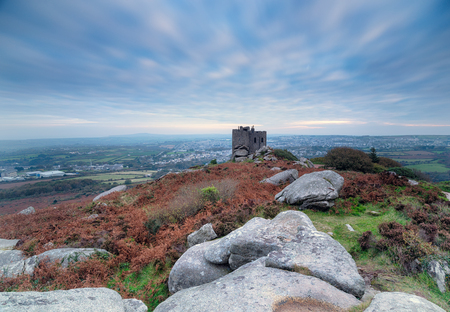 brea: A long exposure of Carn Brea and its castle at Redruth in Cornwall