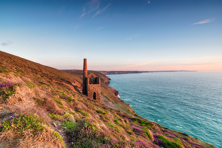 south west coast path: Beautiful sunset over the Towanroath Engine House on the South West Coast Path at St Agnes on the Cornwall coast