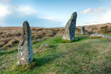 stone circle: Scorhill Stone Circle near Gidleigh on Dartmoor in Devon Stock Photo